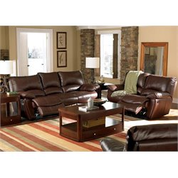 Coaster Leather Reclining Sofa Set in Brown