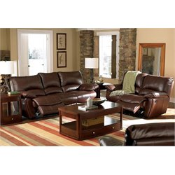 Coaster Clifford Leather Reclining Sofa Set in Brown