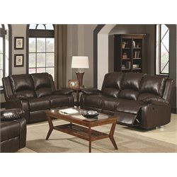 Coaster Boston Leather Reclining Sofa Set in Brown