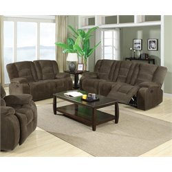 Coaster Charlie Reclining Sofa Set in Brown Sage Velvet