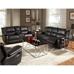 Coaster Lee Leather Reclining Sofa Set in Black