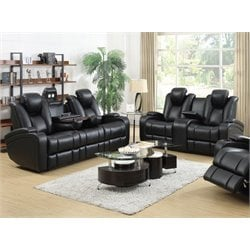 Coaster Delange Faux Leather Reclining Sofa Set in Black