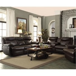 Coaster Macpherson Leather Reclining Sofa Set in Brown-A