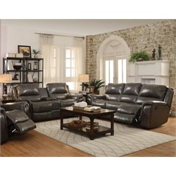 Coaster Wingfield Leather Sofa Set with Pillow Arms