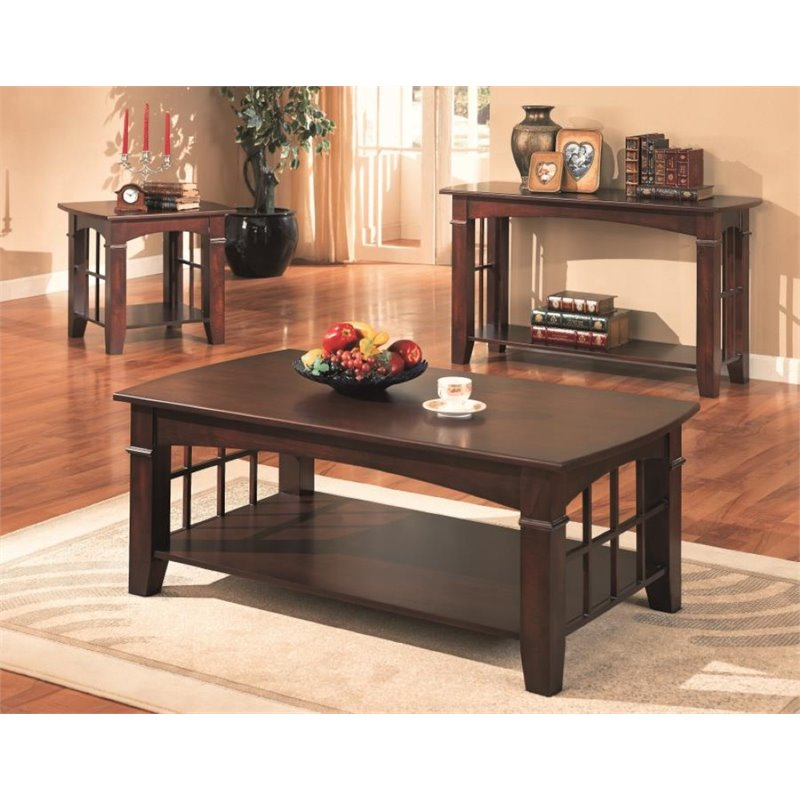 Tremendous Coaster Abernathy 3 Piece Coffee Table Set In Cherry Camellatalisay Diy Chair Ideas Camellatalisaycom