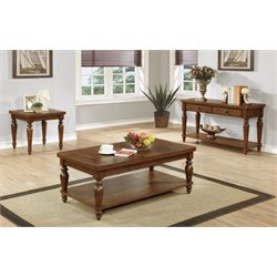 Coaster 3 Piece Coffee Table Set in Rustic Brown