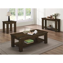 Coaster 3 Piece Coffee Table Set in Rustic Pecan