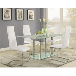 Coaster Geneva 5 Piece Glass Top Dining Set in White