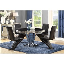 Coaster 5 Piece Round Glass Top Dining Set in Black