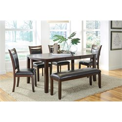 Coaster Dupree Extendable Dining Set in Dark Brown