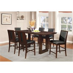 Coaster Chester 7 Piece Counter Height Dining Set in Chocolate