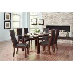 Coaster Rossine Glass Top Dining Set in Red Brown