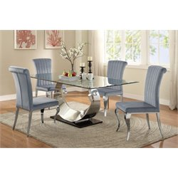 Coaster 5 Piece Glass Top Dining Set in Gray and Chrome