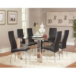 Coaster 5 Piece Glass Top Dining Set in Black and Chrome