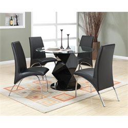 Coaster Ophelia 5 Piece Round Glass Top Dining Set in Black