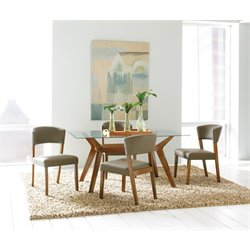 Coaster Paxton 5 Piece Glass Top Dining Set in Cement and Nutmeg