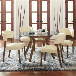 Coaster Paxton 5 Piece Round Glass Top Dining Set in Cream and Nutmeg