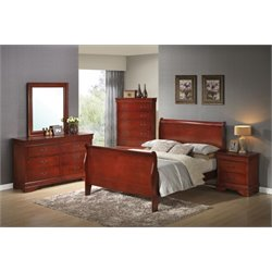 Coaster Louis Philippe 5 Piece Full Sleigh Bedroom Set in Red Brown