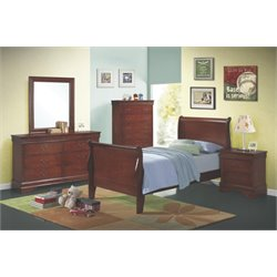 Coaster Louis Philippe 5 Piece Twin Sleigh Bedroom Set in Red Brown