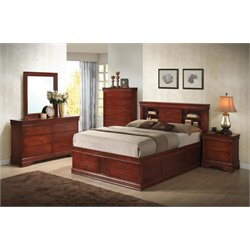 Coaster Louis Philippe 5 Piece Queen Storage Bedroom Set in Red Brown