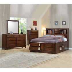 Coaster Hillary 4 Piece Bookcase Bedroom Set in Warm Brown