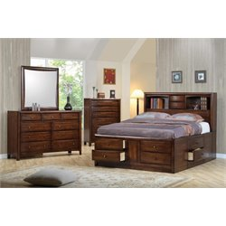 Coaster Hillary 5 Piece Bookcase Bedroom Set in Warm Brown