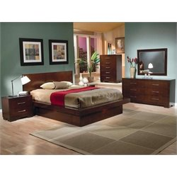 Coaster Jessica 5 Piece Platform Bedroom Set in Cappuccino