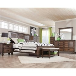 Coaster 5 Piece Panel Bedroom Set in Burnished Oak