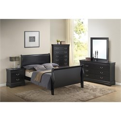Coaster Louis Philippe 5 Piece Full Sleigh Bedroom Set in Black