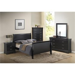 Coaster Louis Philippe 5 Piece Queen Sleigh Bedroom Set in Black