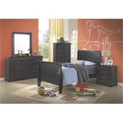 Coaster Louis Philippe 5 Piece Twin Sleigh Bedroom Set in Black