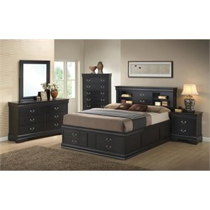 Coaster Louis Philippe 5 Piece Bookcase Bedroom Set in Black