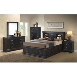 Coaster Louis Philippe 5 Piece Queen Storage Bedroom Set in Black