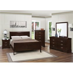 Coaster Louis Philippe 5 Piece Full Sleigh Bedroom Set in Cappuccino