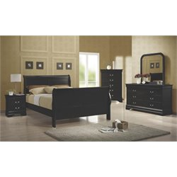 Coaster Louis Philippe 4 Piece Full Sleigh Bedroom Set in Black