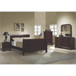 Coaster Louis Philippe 4 Piece Full Sleigh Bedroom Set in Red Brown