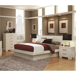 Coaster Jessica 4 Piece Platform Bedroom Set in White