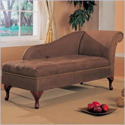 Coaster Accent Seating Microfiber Chaise Lounge with Flip Open Seat in Brown