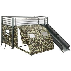 Coaster Frolic Twin Size Kids Metal Loft Bed With Slide in Camouflage