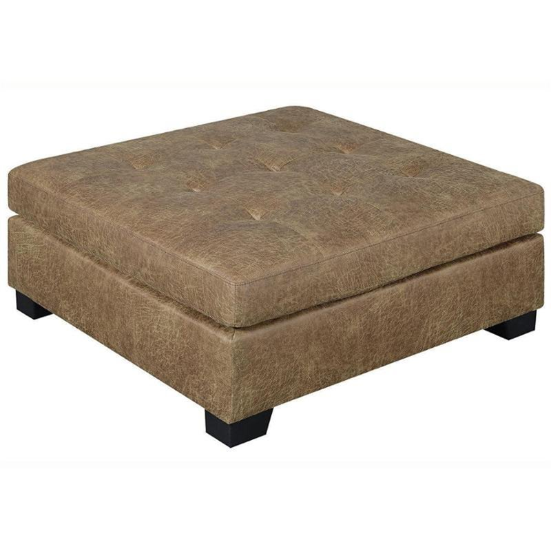 Coaster Darie Tufted Ottoman in Golden Brown and Black