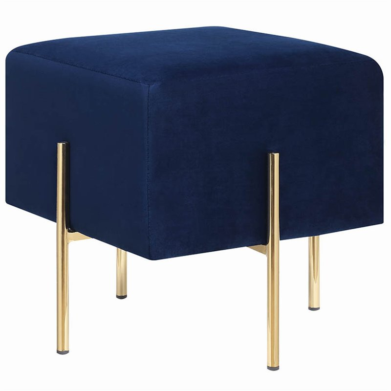 Coaster Contemporary Velvet Ottoman in Blue and Brass