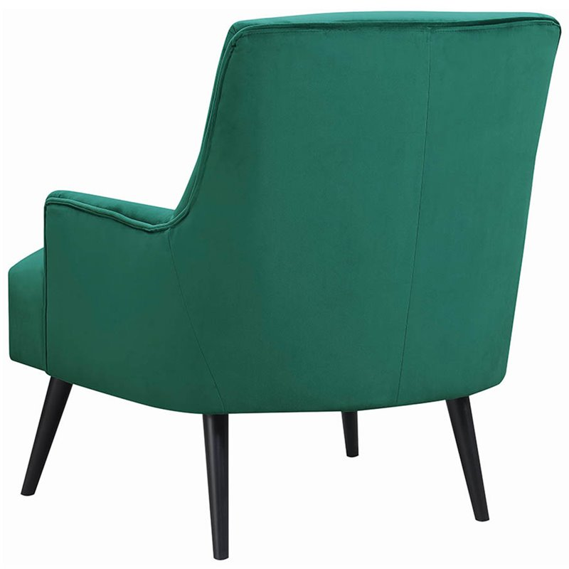 Coaster Velvet Accent Chair in Green and Black