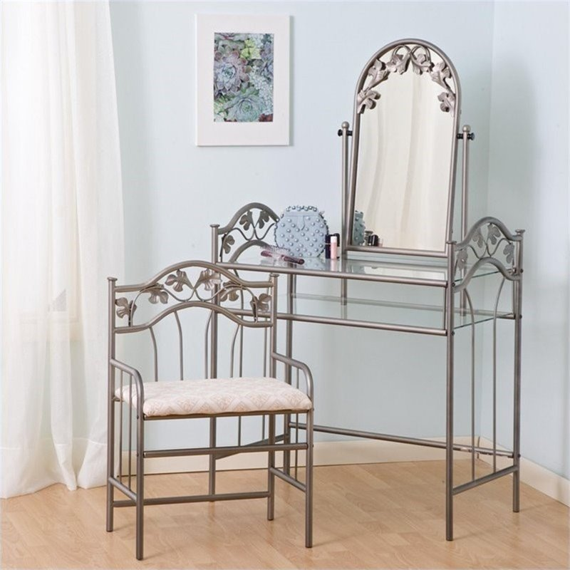 Coaster Flower Pattern Vanity Table Set with Mirror in Nickel-Bronze Finish