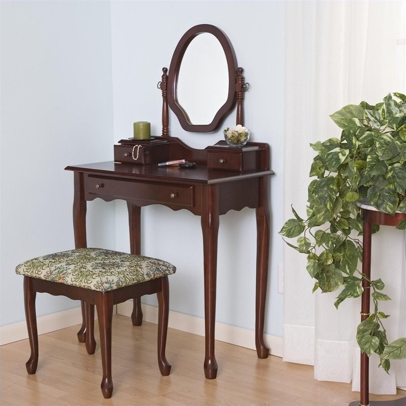 Coaster Traditional 2 Piece Vanity Set with Mirror in Brown Red