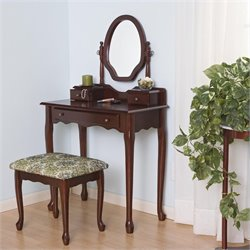 Coaster Traditional Wood Makeup Vanity Table Set with Mirror in Stained Cherry
