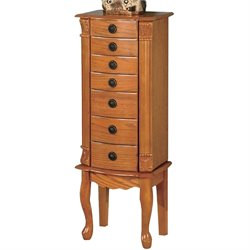 Coaster Seven Drawer Jewelry Armoire in Warm Oak