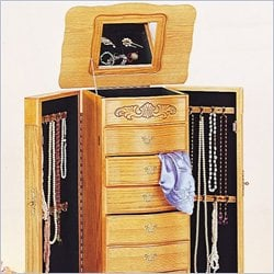 Coaster Seven Drawer Deluxe Jewelry Armoire in Light Oak