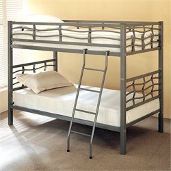 Coaster Metal Twin over Twin Bunk Bed in Dark Silver Finish