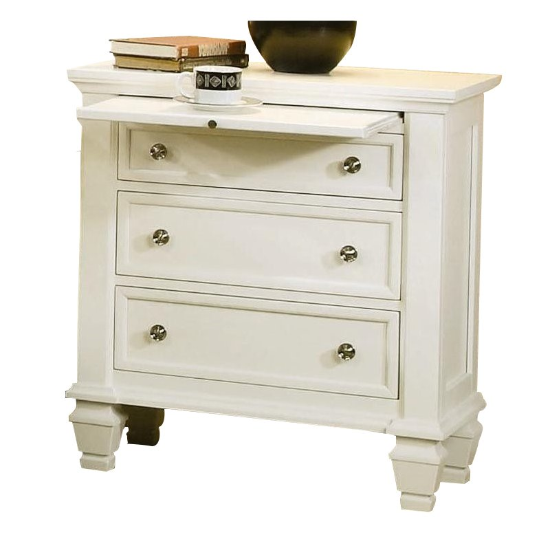 Coaster Classic Nightstand with Pull Out Shelf in White