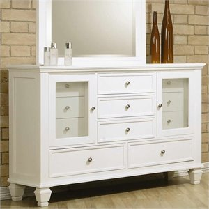 Coaster Sandy Beach Classic 11 Drawer Dresser in White